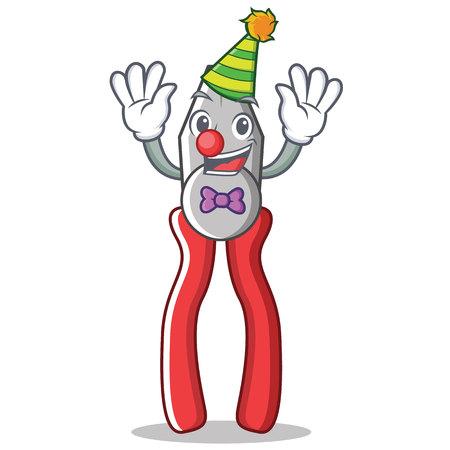 Clown pliers character cartoon style