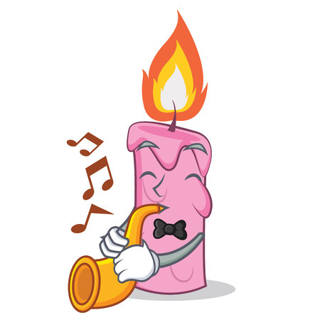 With trumpet candle character cartoon style vector illustration
