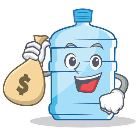 dispenser: With money bag gallon character, cartoon style vector illustration