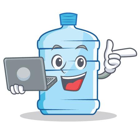 With laptop gallon character cartoon style, vector illustration.