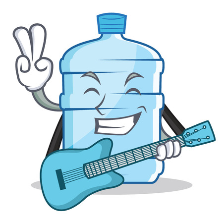 With guitar gallon character cartoon style vector illustration