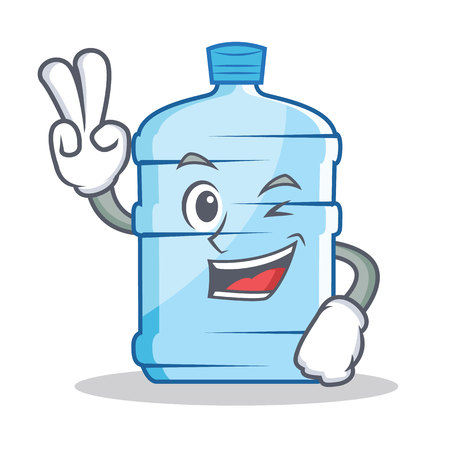 water cooler: Two finger gallon character cartoon style vector illustration