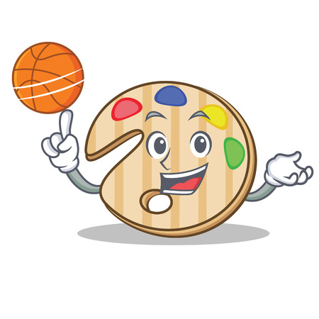 With basketball paint palette character cartoon Illustration