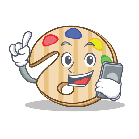 telephone cartoon: With phone paint palette character cartoon Illustration
