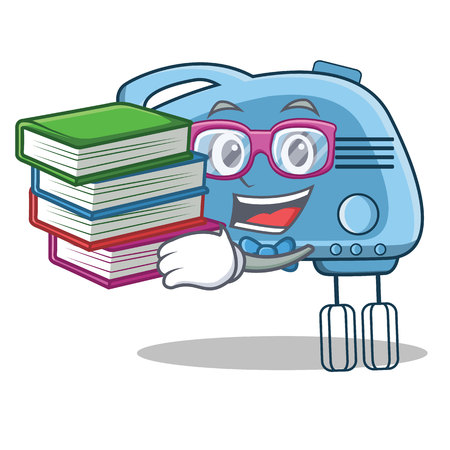 Student with book mixer character cartoon style
