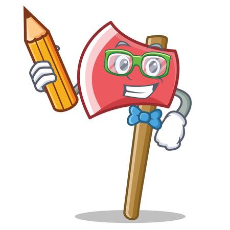 Student axe character cartoon style vector illustration