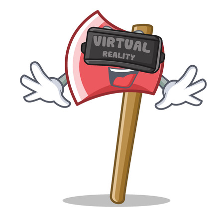 With virtual reality axe character cartoon style vector illustration