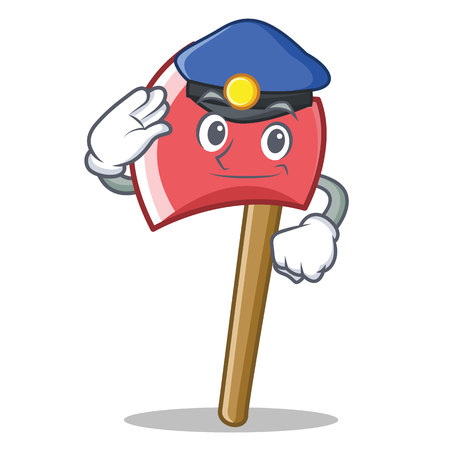 dangerous work: Police axe character cartoon style vector illustration Illustration