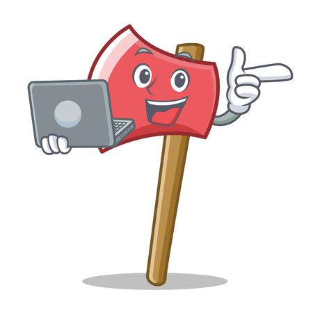 With laptop axe character cartoon style vector illustration Illustration