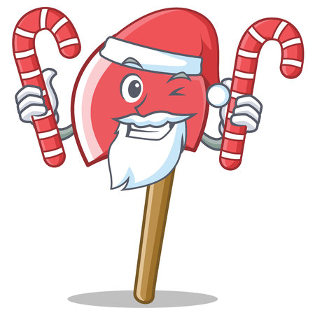 Santa with candy character cartoon style