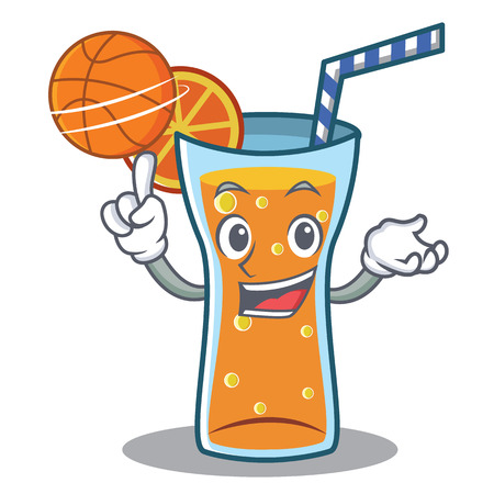 limon caricatura: With basketball cocktail character cartoon style vector illustration