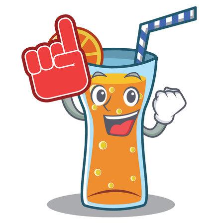 Foam finger cocktail character cartoon style vector illustration
