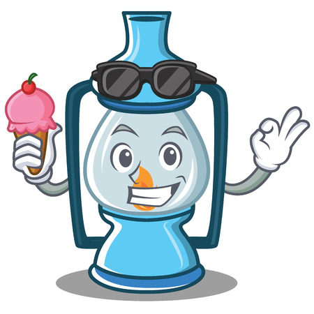 fire and ice: With ice cream lantern character cartoon style Illustration