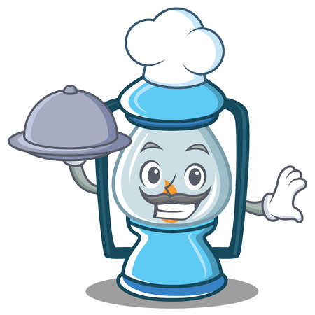 Chef with food lantern character cartoon style Illustration