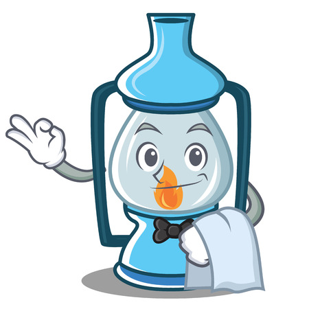 Waiter lantern character cartoon style Illustration