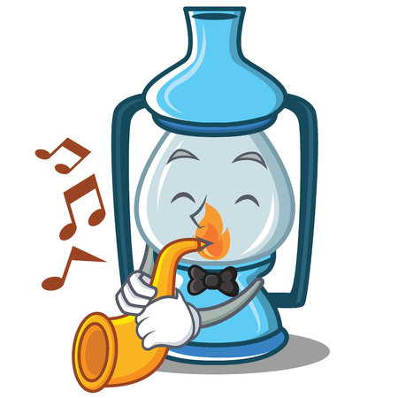 With trumpet lantern character cartoon style Illustration