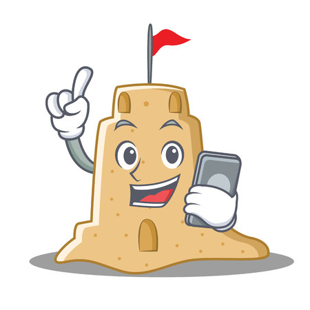 With phone sandcastle character cartoon style vector illustration