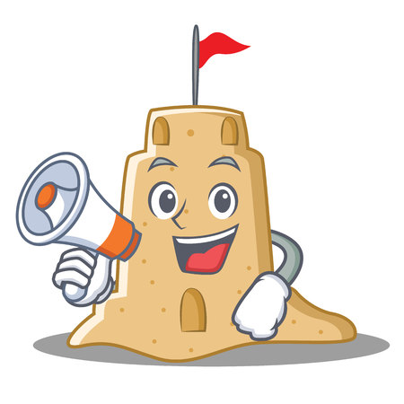 loudspeaker: With megaphone sandcastle character cartoon style vector illustration