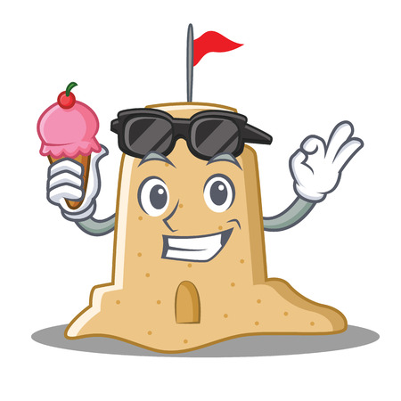 With ice cream sandcastle character cartoon style