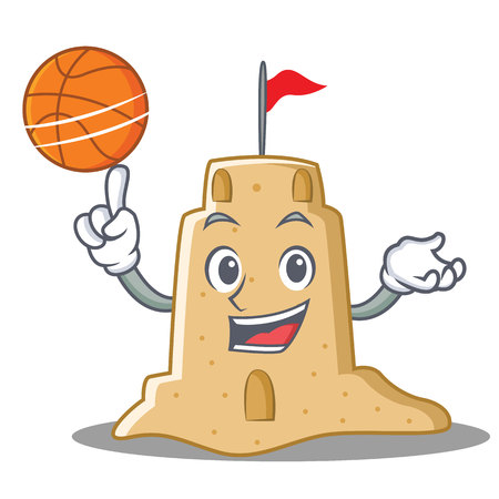 With basketball sandcastle character cartoon style Illustration