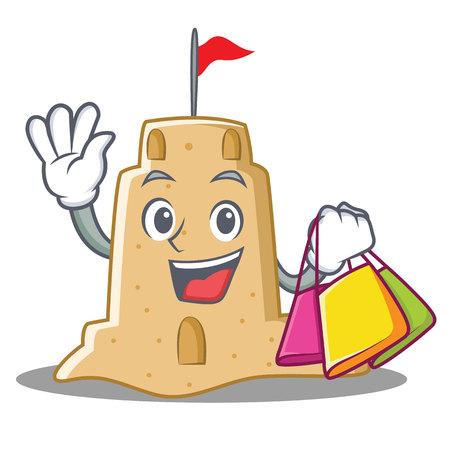 Shopping sandcastle character cartoon style Illustration