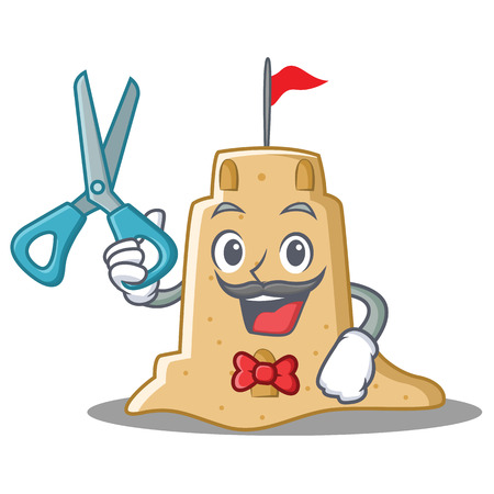 Barber sandcastle character cartoon style