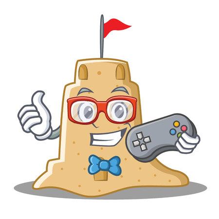 Gamer sandcastle character cartoon style