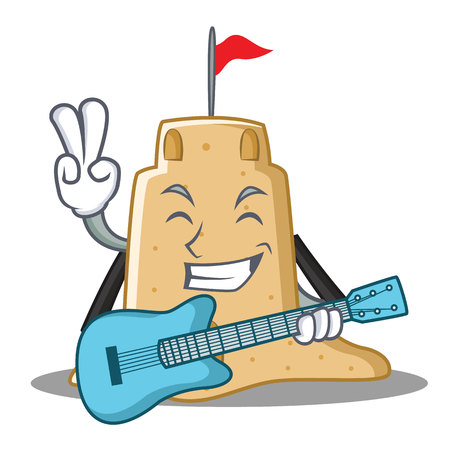 With guitar sandcastle character cartoon style