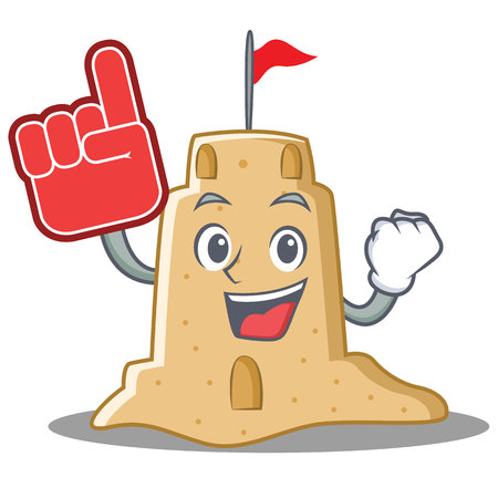 Foam finger sandcastle character cartoon style. Illustration