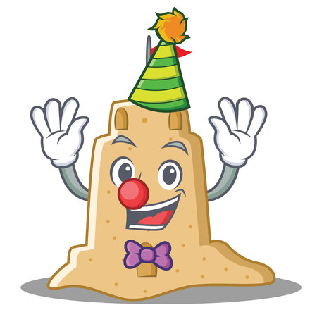 Clown sandcastle character cartoon style.