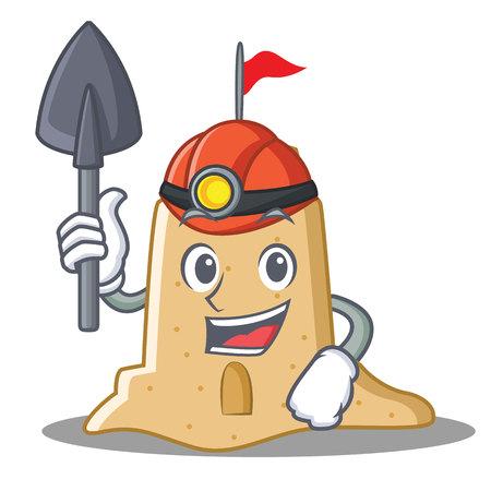 Miner sandcastle character cartoon style