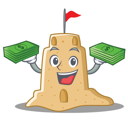 With money sandcastle character cartoon style Stock Photo