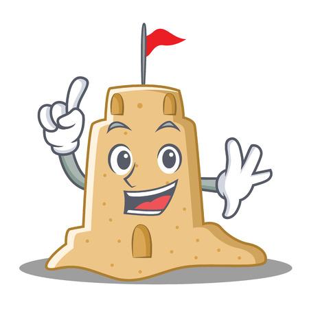 Finger sandcastle character cartoon style