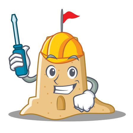 Automotive sandcastle character cartoon style Stock Photo