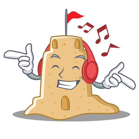 Listening music sandcastle character cartoon style Stock Photo