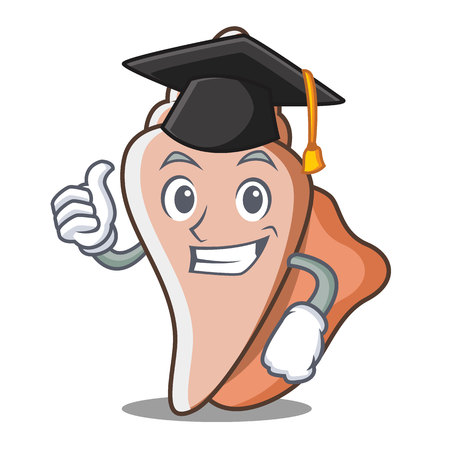 Graduation cute shell character cartoon Illustration