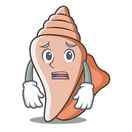 Afraid cute shell character cartoon Illustration