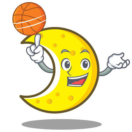With basketball crescent moon character cartoon