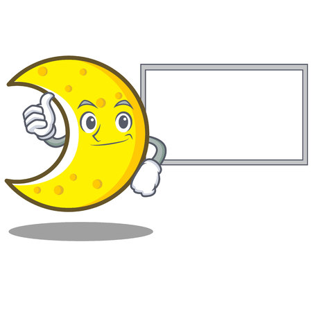 Thumbs up with board crescent moon character cartoon vector illustration