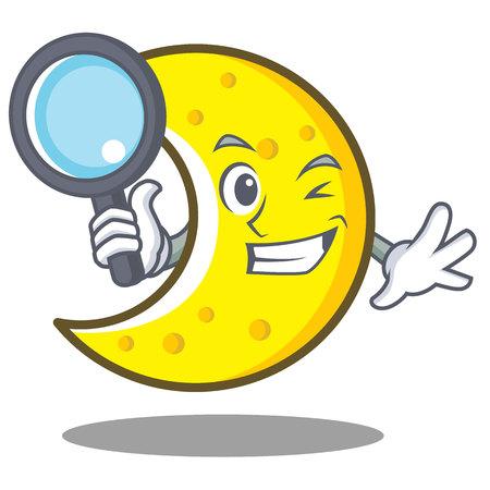 Detective crescent moon character cartoon