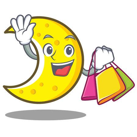 Shopping crescent moon character cartoon