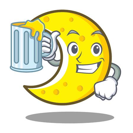 With juice crescent moon cartoon character.