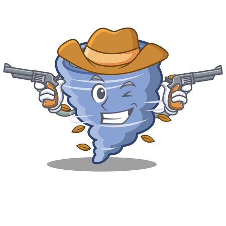 Cowboy tornado character cartoon style