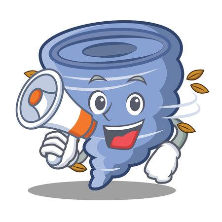 With megaphone tornado character cartoon style Ilustração