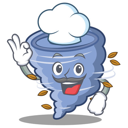 Chef tornado character cartoon style Illustration