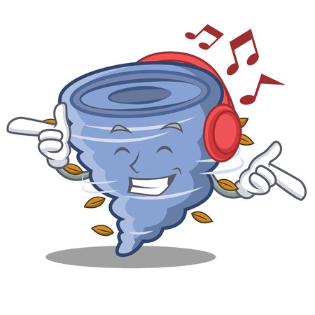 Listening music tornado character cartoon style Illustration