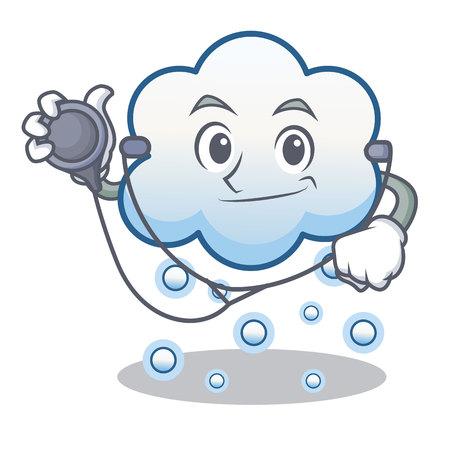 Doctor snow cloud character cartoon vector illustration
