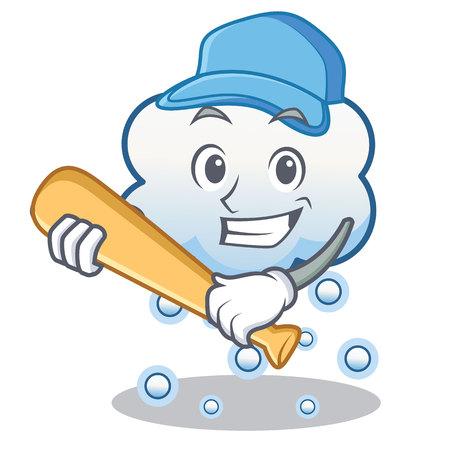 Playing baseball snow cloud character cartoon vector illustration