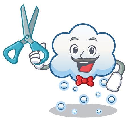 Barber snow cloud character cartoon vector illustration
