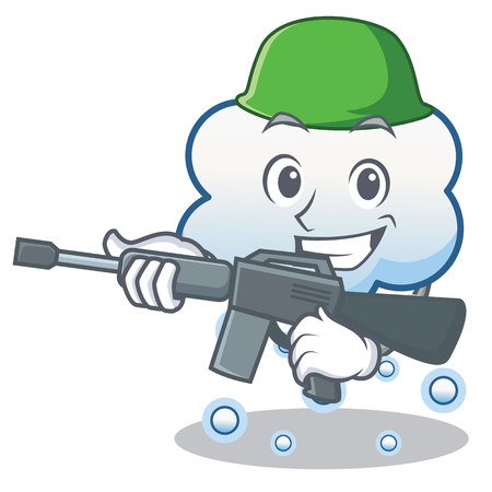 Army snow cloud character cartoon.